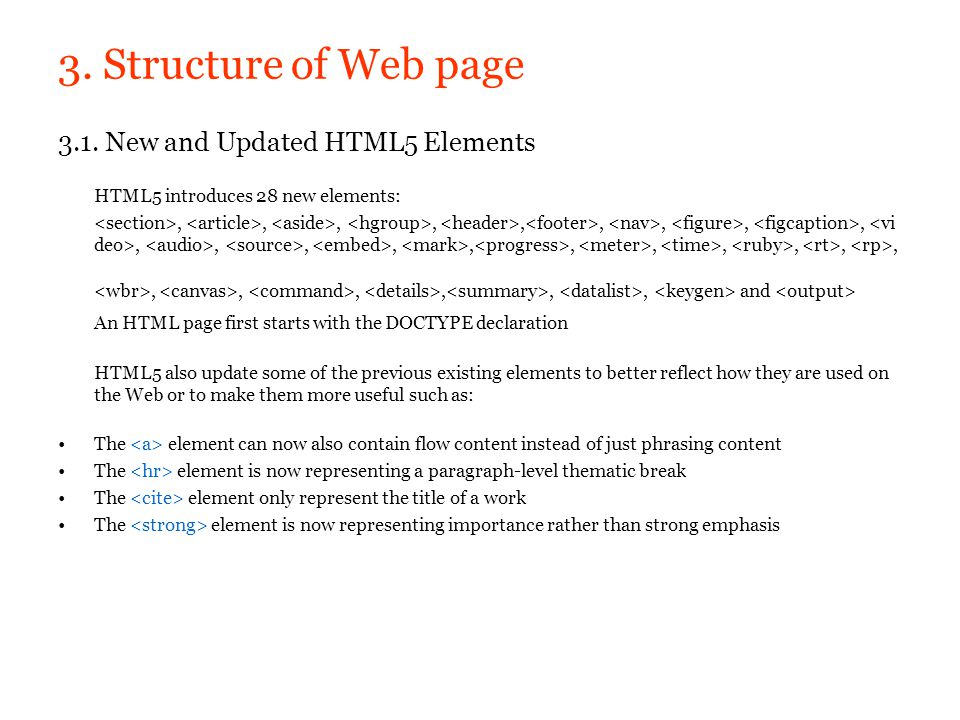 3. Structure of Web page 3.1. New and Updated HTML5 Elements