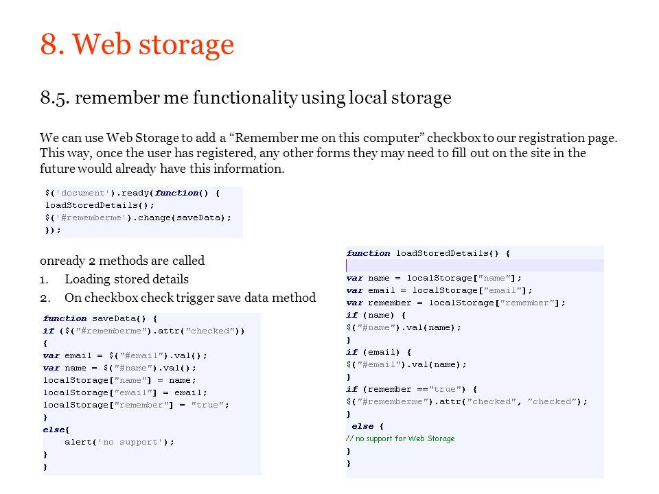 8. Web storage
