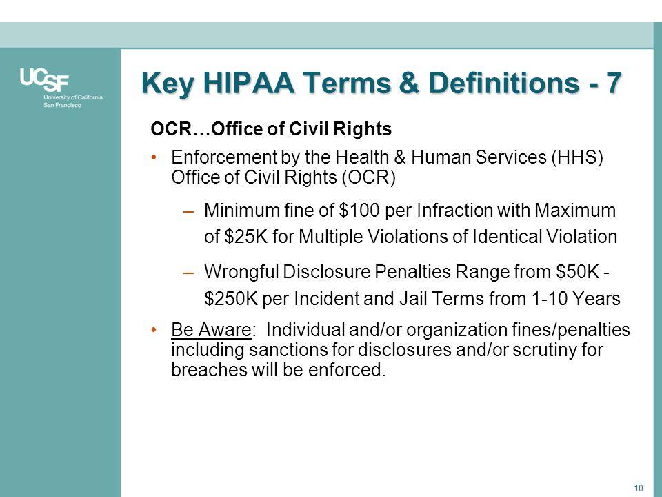 Key HIPAA Terms & Definitions - 7