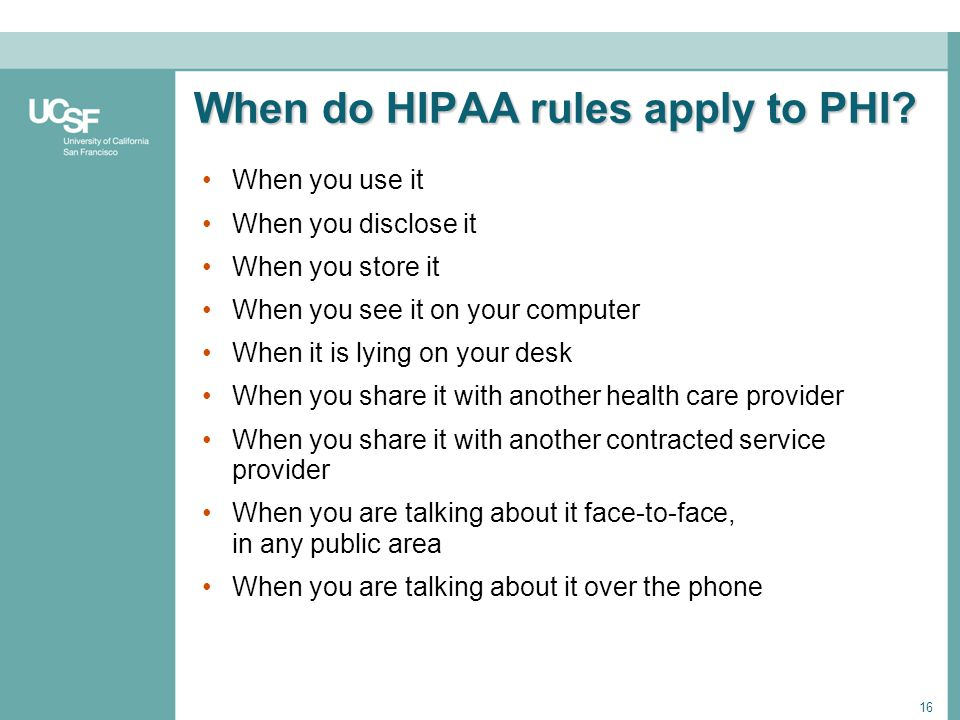 When do HIPAA rules apply to PHI