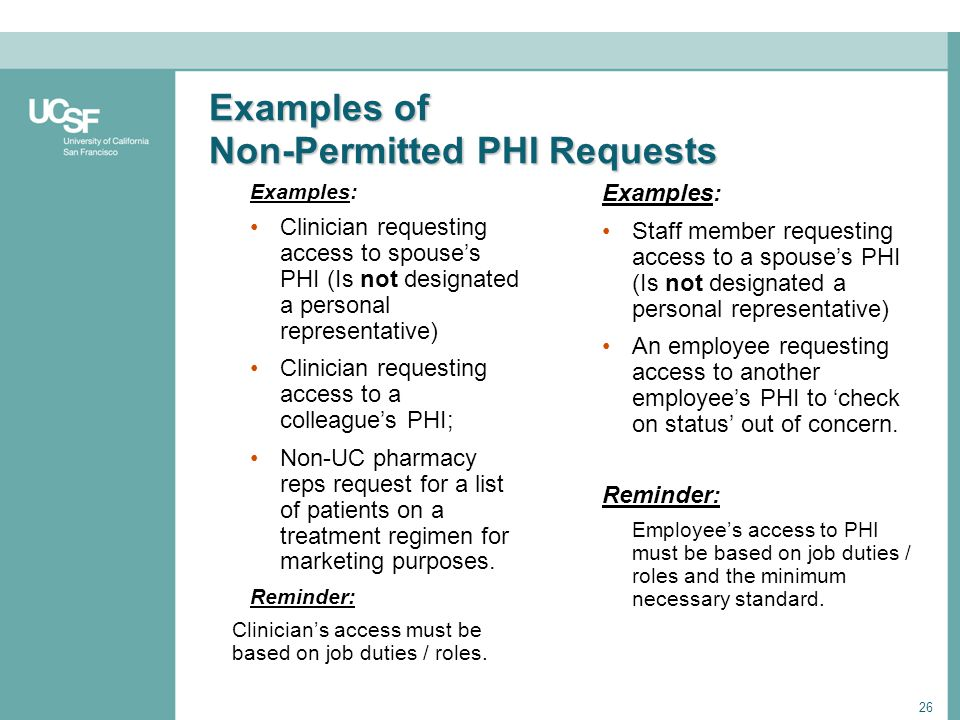 Examples of Non-Permitted PHI Requests