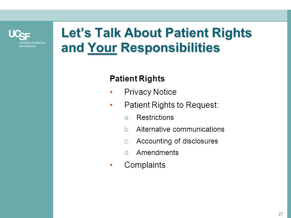 Let's Talk About Patient Rights and Your Responsibilities