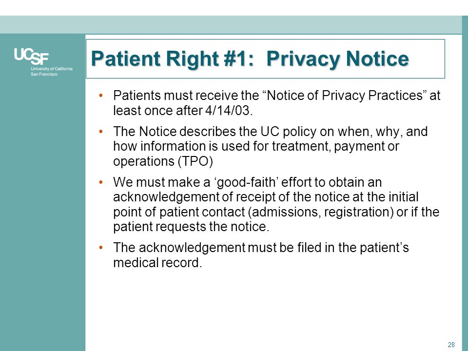 Patient Right #1: Privacy Notice