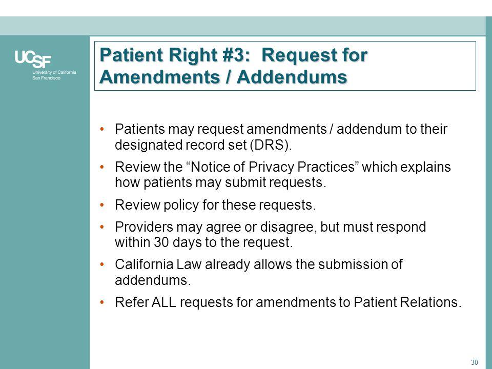 Patient Right #3: Request for Amendments / Addendums