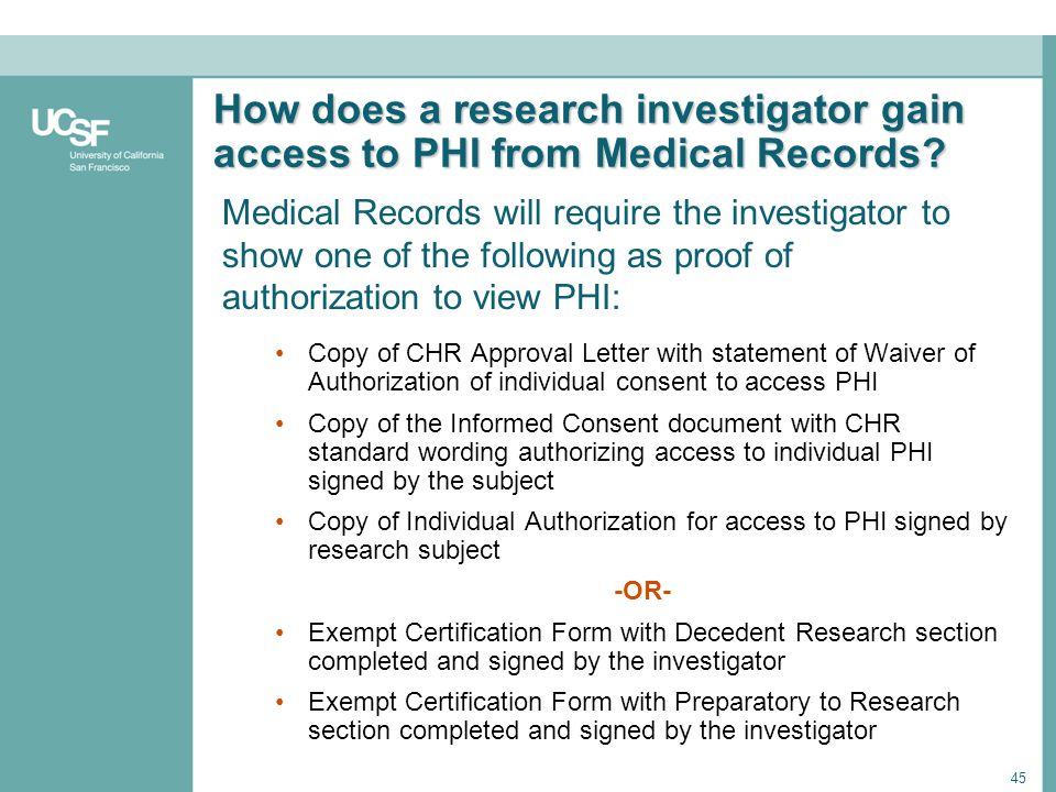 How does a research investigator gain access to PHI from Medical Records