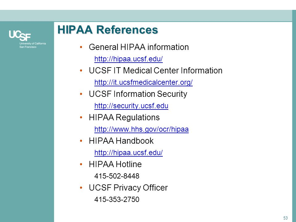 HIPAA References General HIPAA information