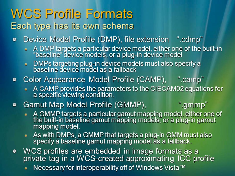 WCS Profile Formats Each type has its own schema