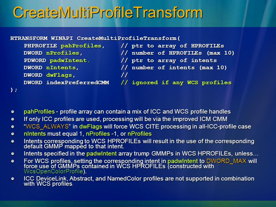 CreateMultiProfileTransform