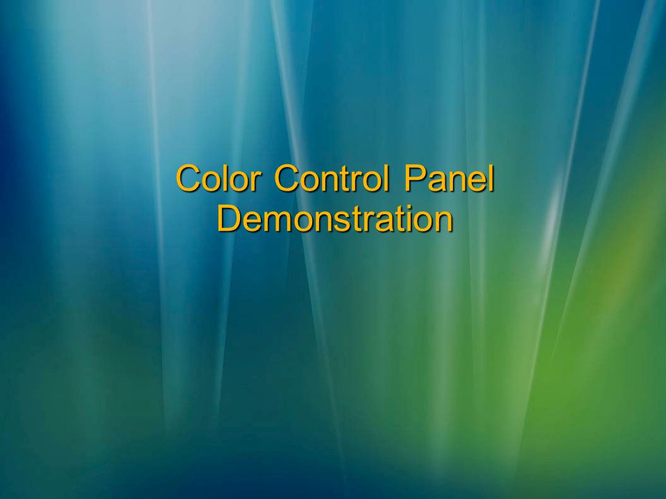 Color Control Panel Demonstration