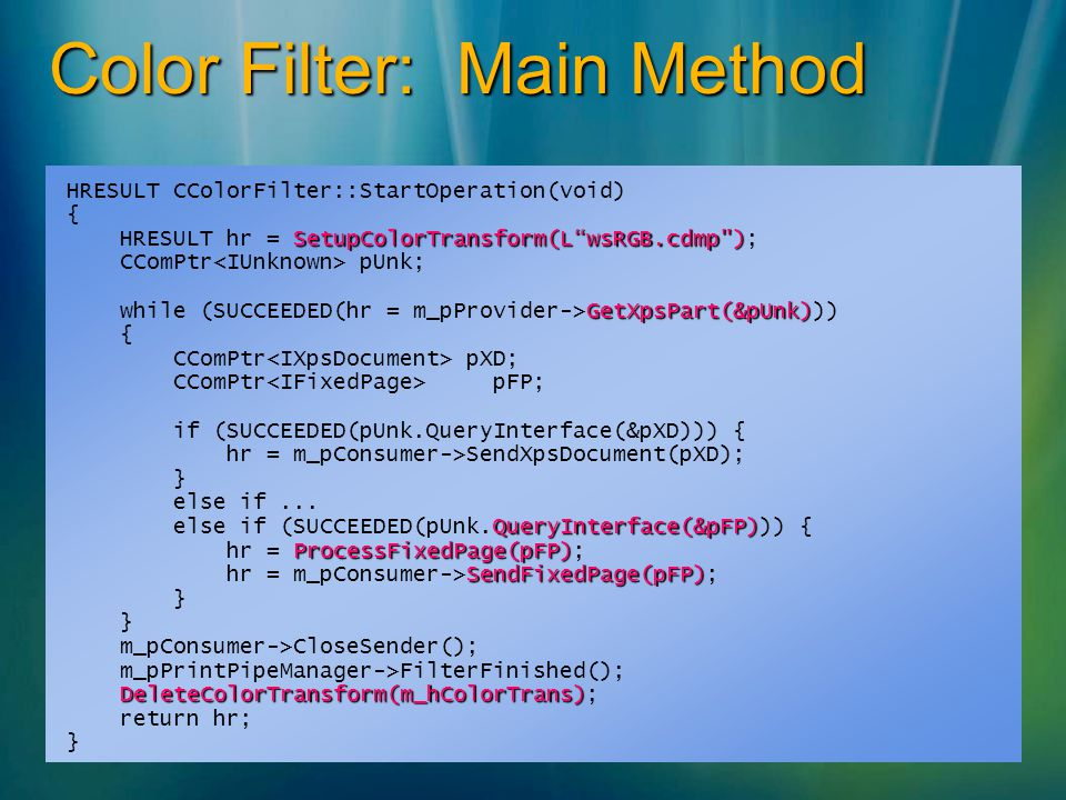 Color Filter: Main Method