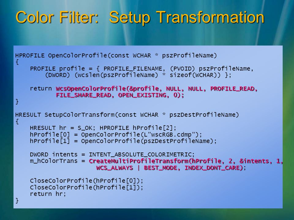 Color Filter: Setup Transformation