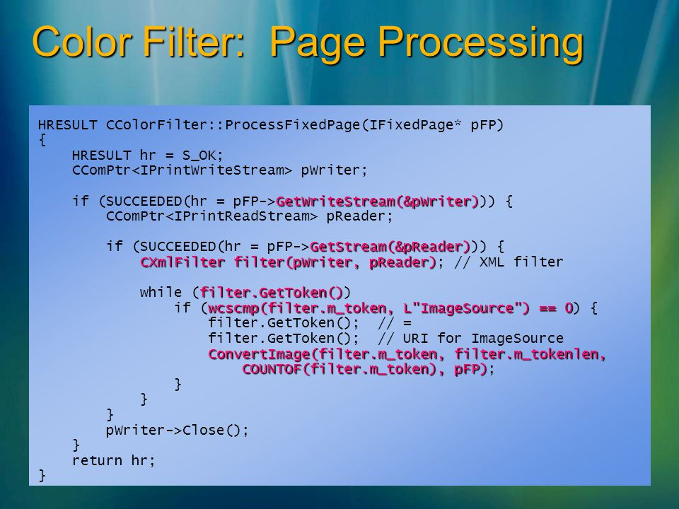 Color Filter: Page Processing