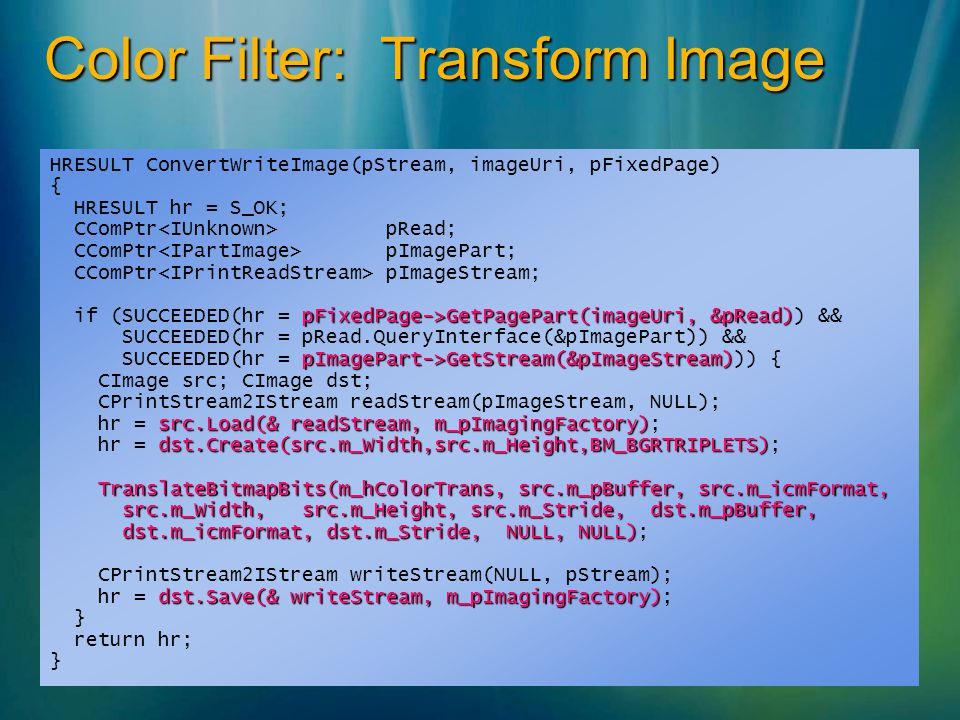 Color Filter: Transform Image