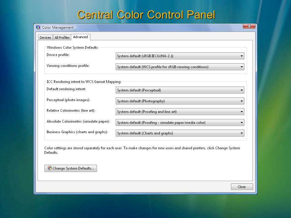 Central Color Control Panel