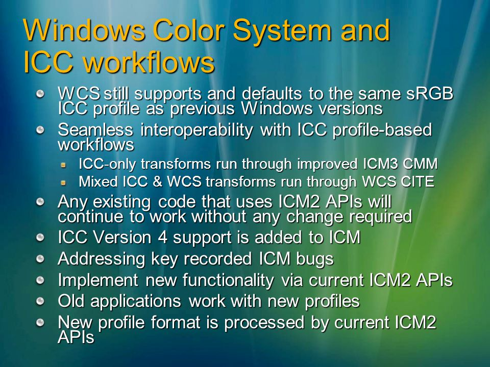 Windows Color System and ICC workflows