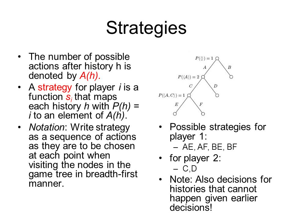 Strategies The number of possible actions after history h is denoted by A(h).