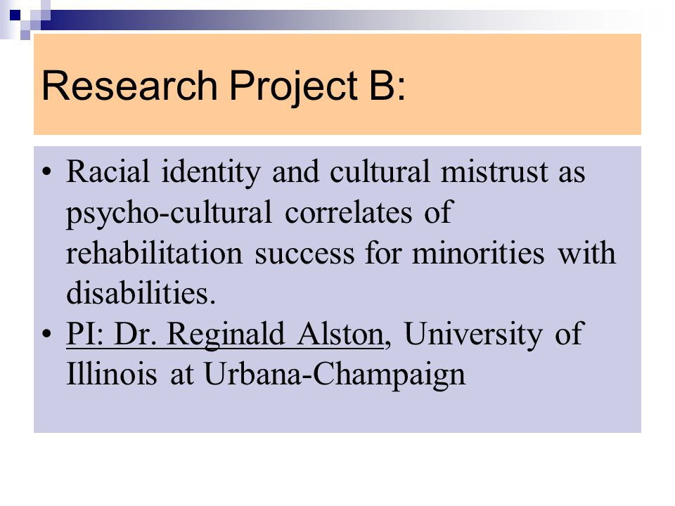 Research Project B: Racial identity and cultural mistrust as psycho-cultural correlates of rehabilitation success for minorities with disabilities.