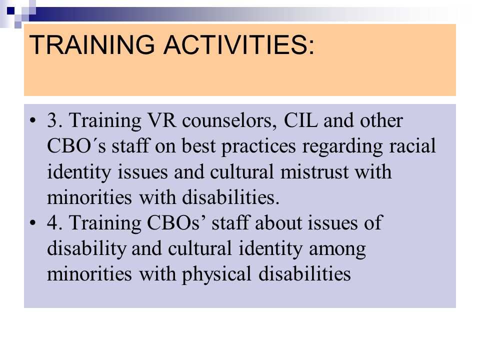 TRAINING ACTIVITIES: