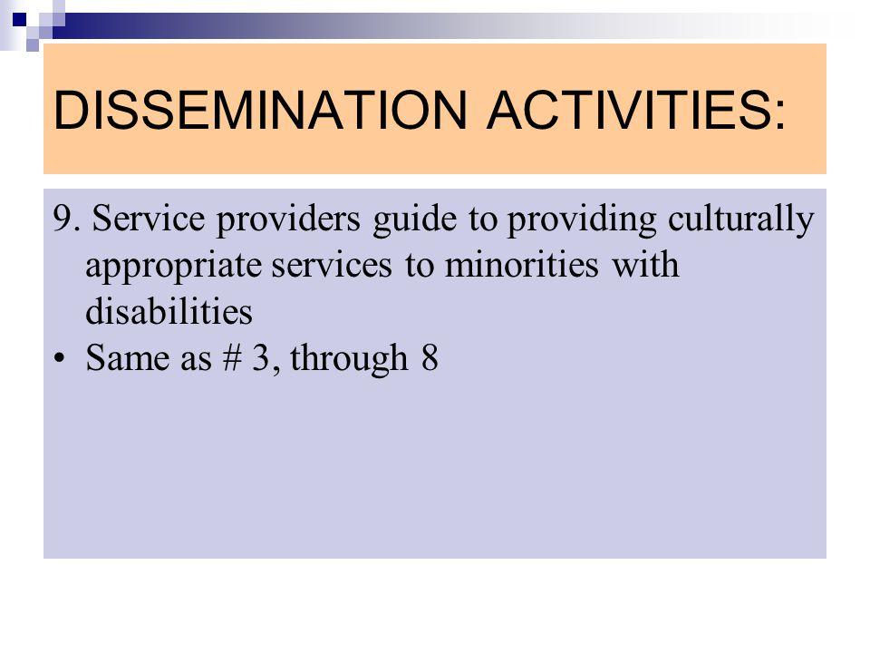 DISSEMINATION ACTIVITIES: