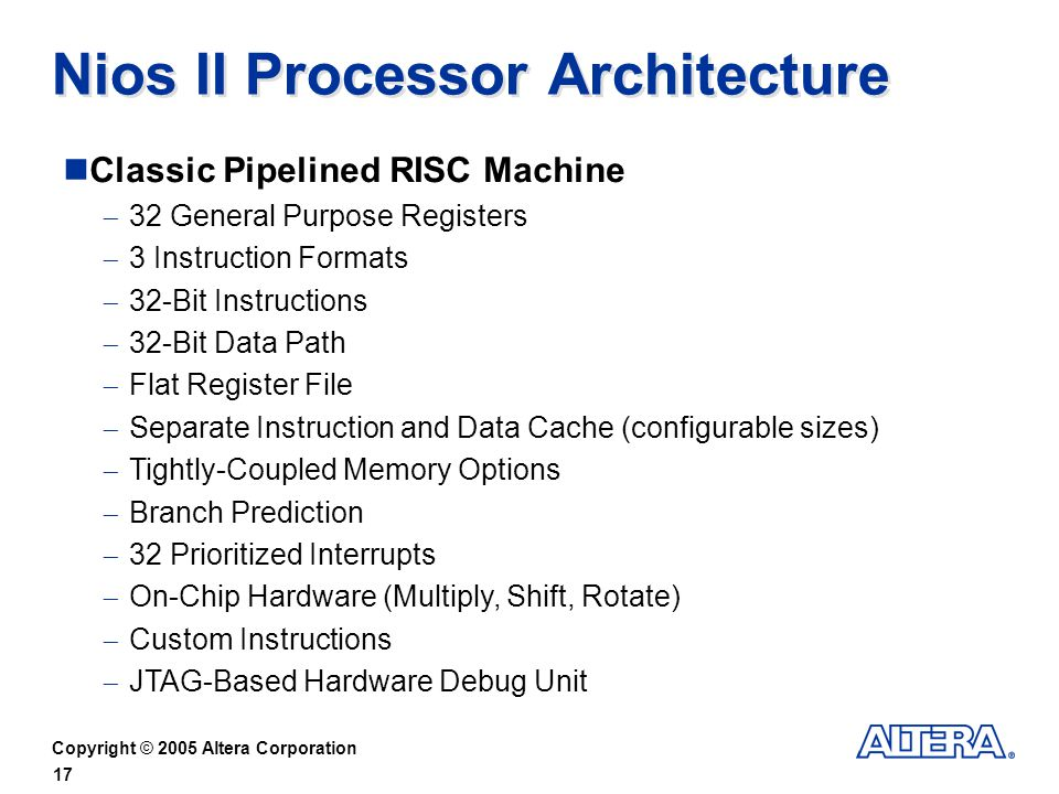 Nios II Processor Architecture