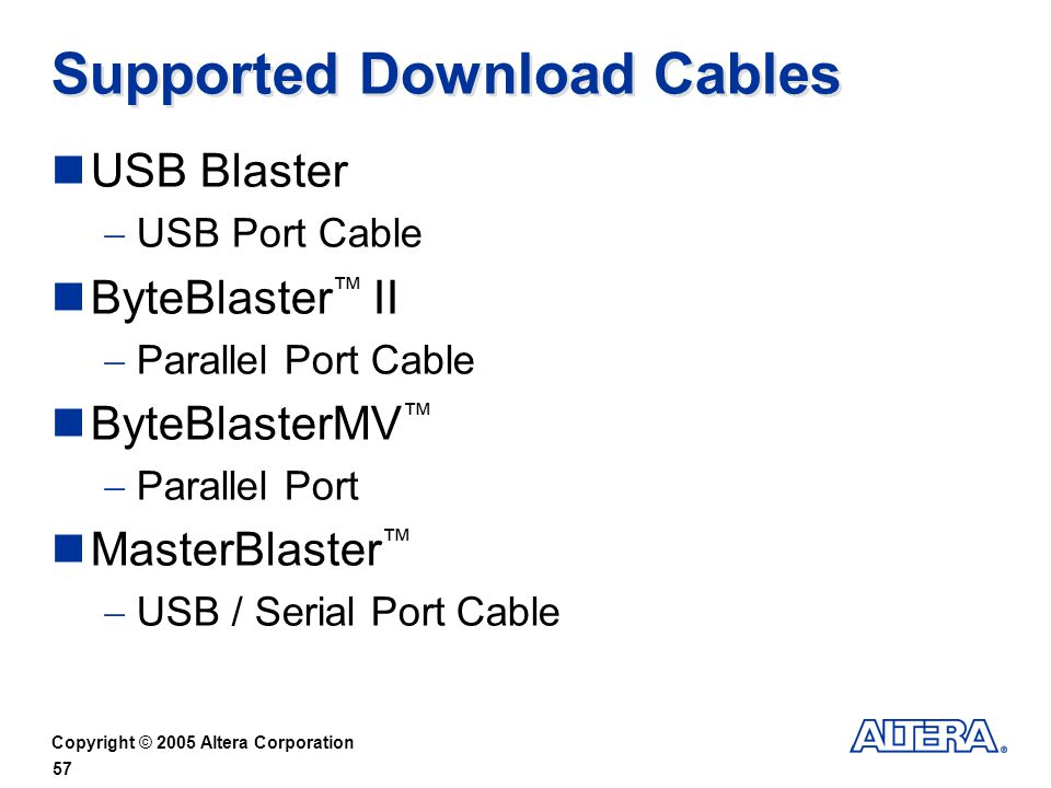 Supported Download Cables
