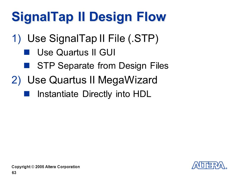 SignalTap II Design Flow