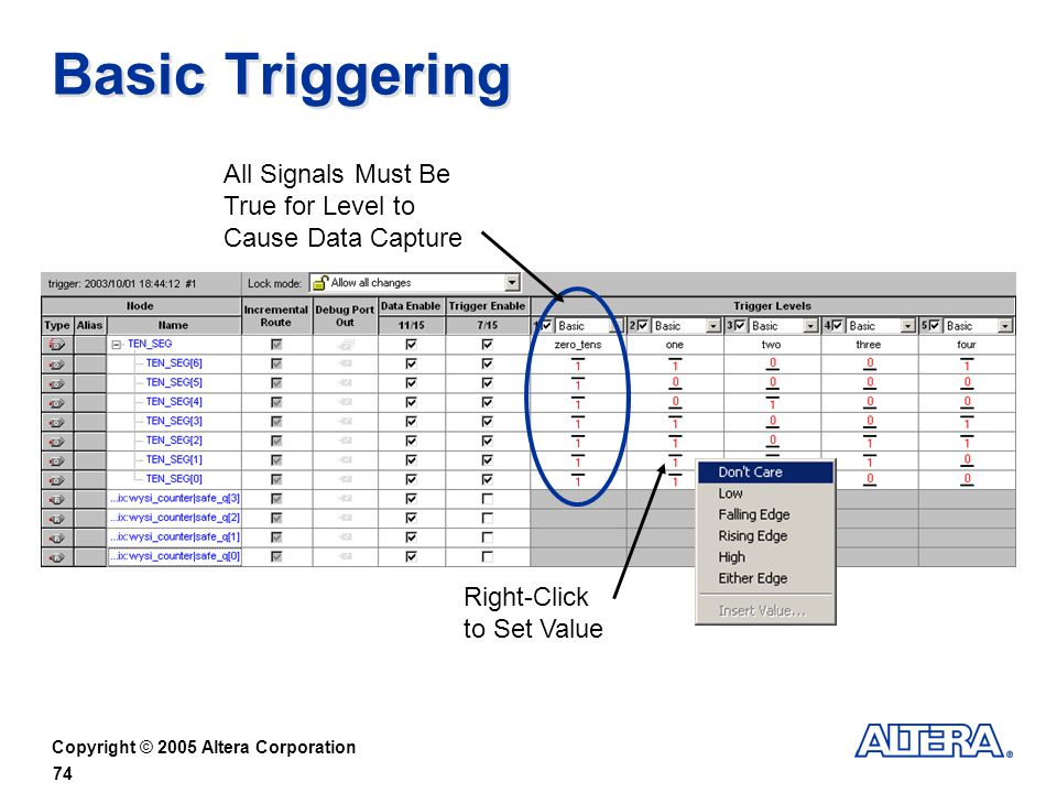 Basic Triggering All Signals Must Be True for Level to Cause Data Capture Right-Click to Set Value