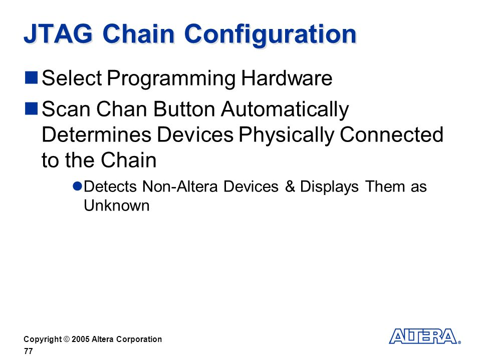 JTAG Chain Configuration