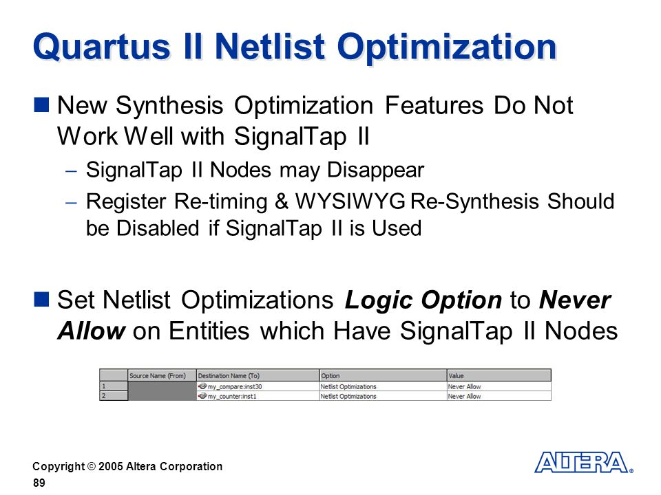 Quartus II Netlist Optimization