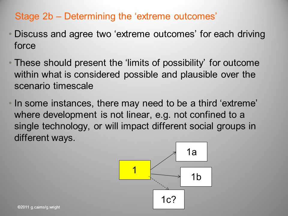 Stage 2b – Determining the 'extreme outcomes'