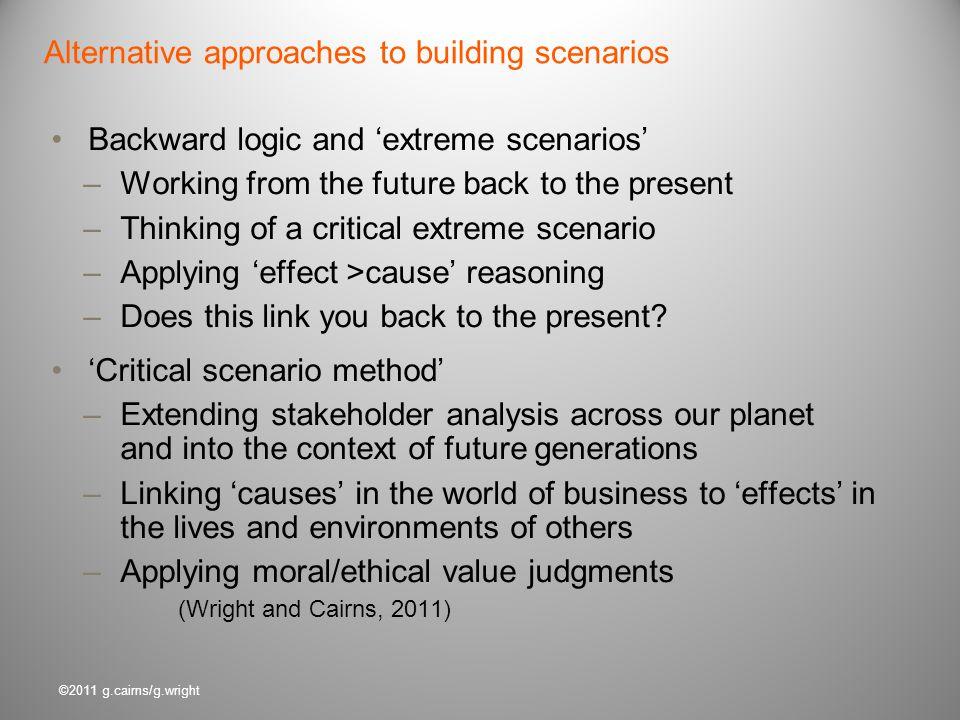 Alternative approaches to building scenarios