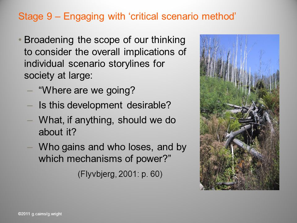 Stage 9 – Engaging with 'critical scenario method'