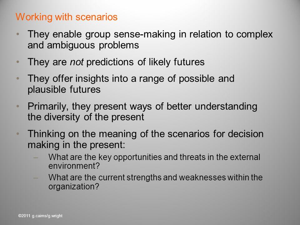 Working with scenarios