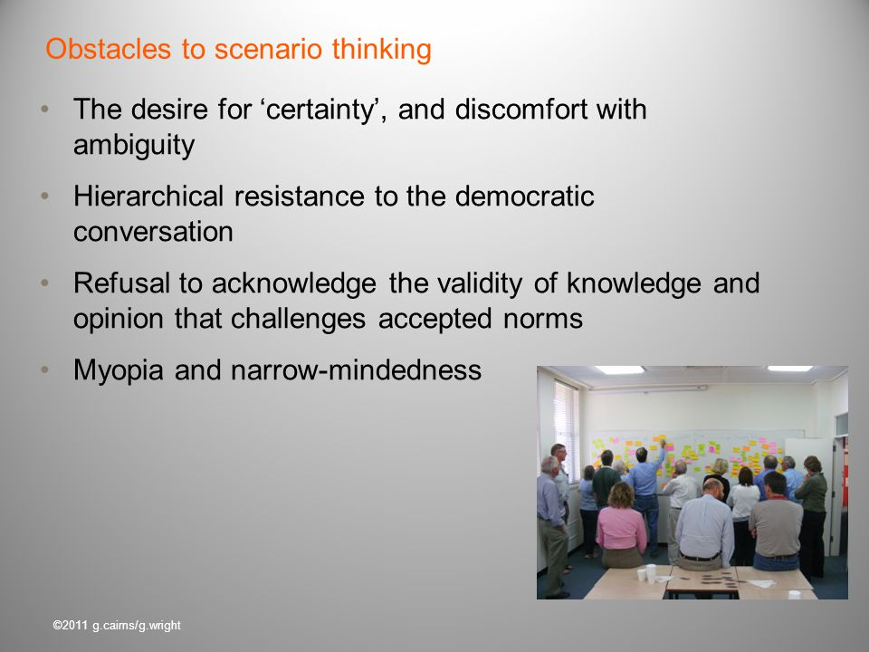 Obstacles to scenario thinking
