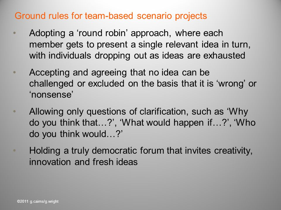 Ground rules for team-based scenario projects