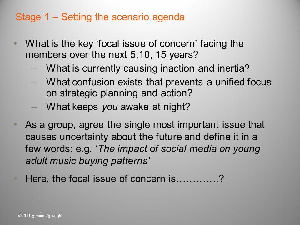 Stage 1 – Setting the scenario agenda