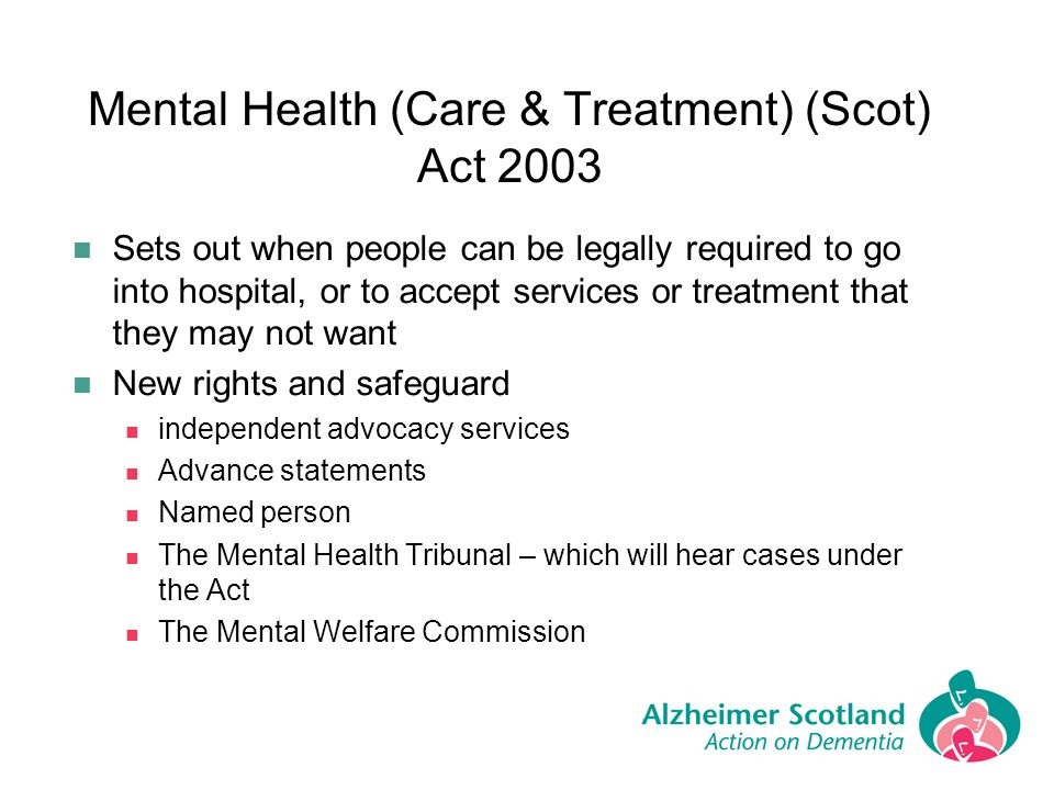 Mental Health (Care & Treatment) (Scot) Act 2003