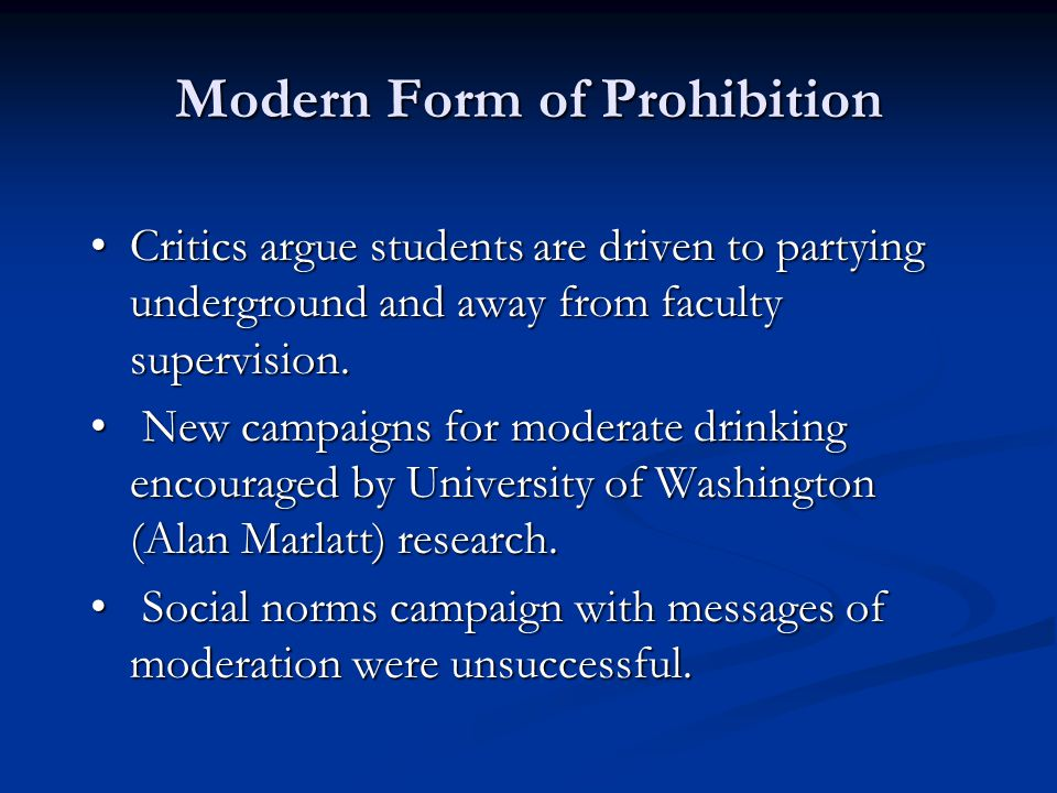 Modern Form of Prohibition