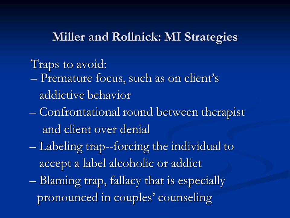 Miller and Rollnick: MI Strategies
