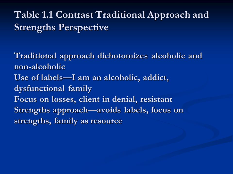 Table 1.1 Contrast Traditional Approach and Strengths Perspective Traditional approach dichotomizes alcoholic and non-alcoholic Use of labels—I am an alcoholic, addict, dysfunctional family Focus on losses, client in denial, resistant Strengths approach—avoids labels, focus on strengths, family as resource