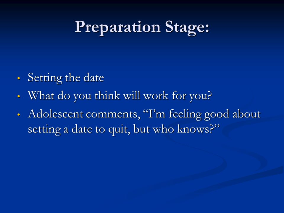 Preparation Stage: Setting the date