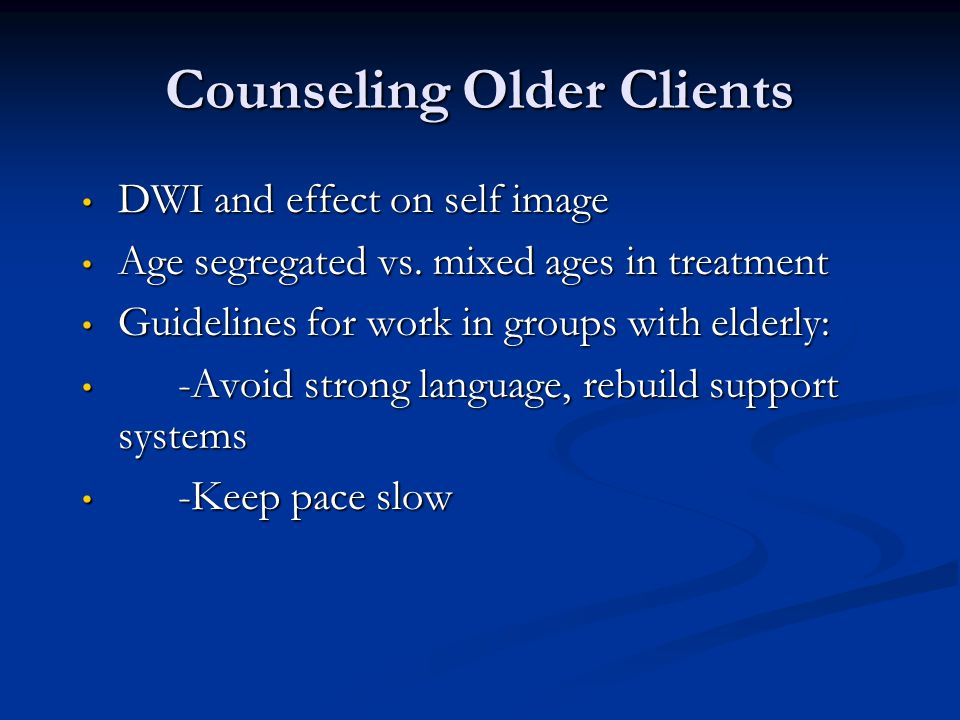 Counseling Older Clients