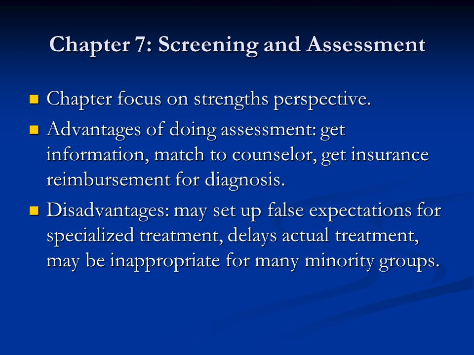 Chapter 7: Screening and Assessment