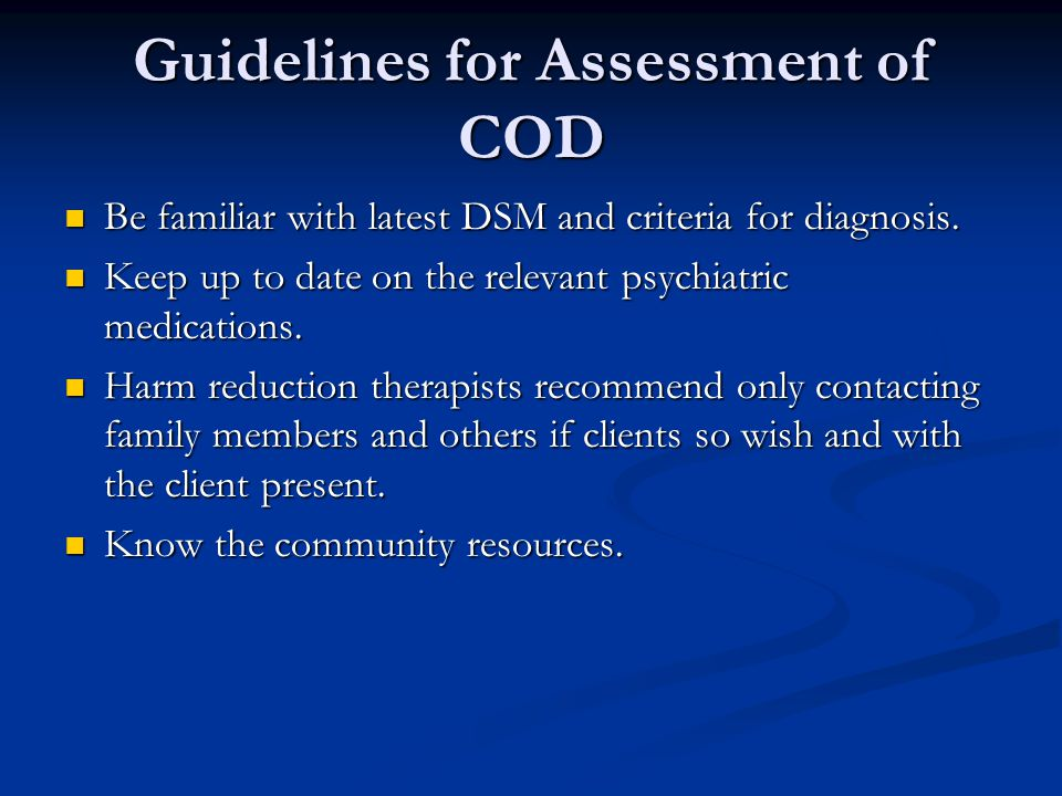 Guidelines for Assessment of COD