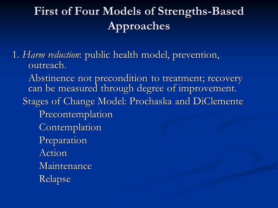 First of Four Models of Strengths-Based Approaches