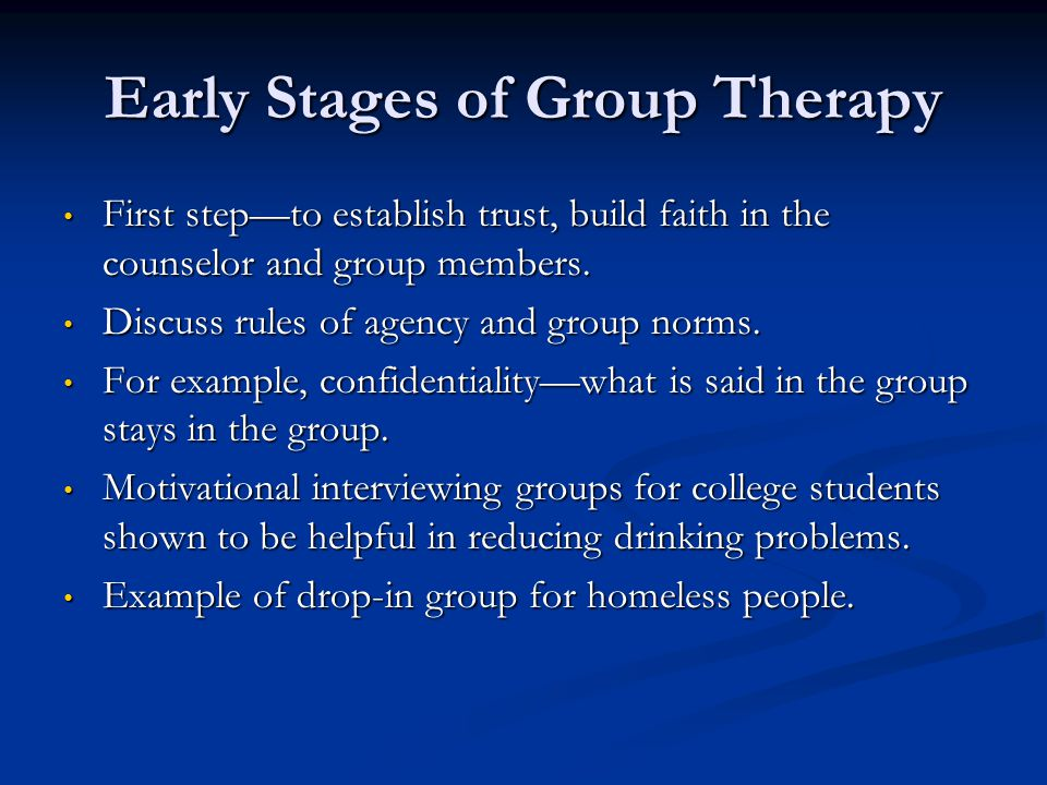 Early Stages of Group Therapy
