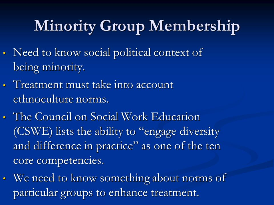 Minority Group Membership