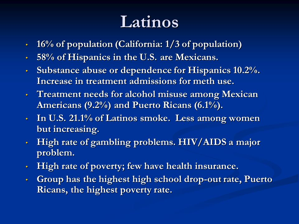 Latinos 16% of population (California: 1/3 of population)