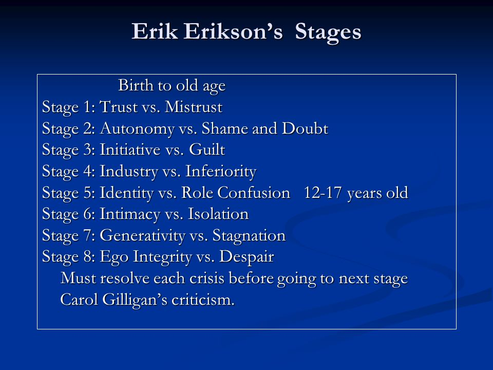 Erik Erikson's Stages Birth to old age Stage 1: Trust vs. Mistrust