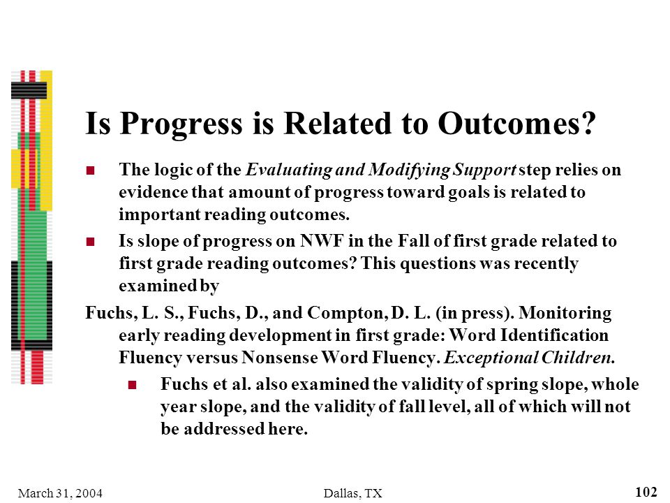 Is Progress is Related to Outcomes
